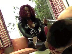 Jamaican Dom humiliates white trash slave