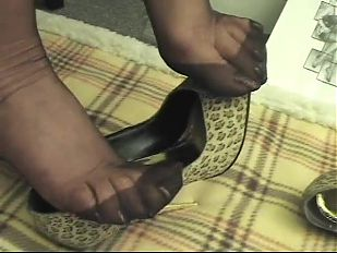 Foot Tease in brown stockings # 4