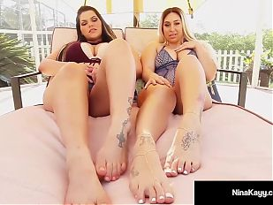 Naughty Nympho Nina Kayy & Angelina Castro Play Hot Footsies