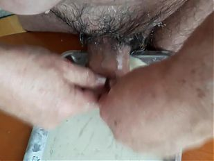 foreskin & wanking with collected cum