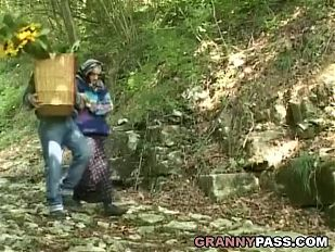 Granny Gives Everything To Blowjob In Forest