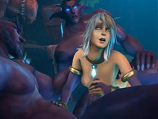 Jaina threesome with Night Elves