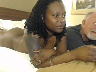 Mature interracial couple have hotel fun