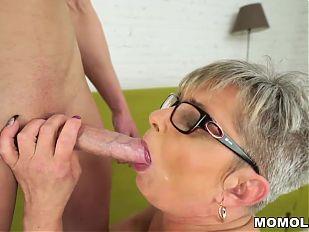 Lusty grandma vs young big cock